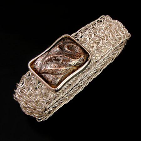 A Rose for Leonardo, Side Weave Mesh bracelet with an Eastern repousse patterned mokume gane clasp