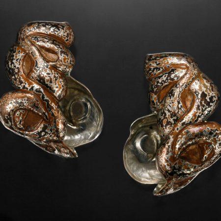 Allahoudine VII, Eastern repousse patterned mokume gane earrings