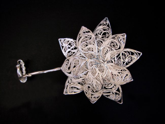 Darling, lotus have some tea..., Russian filigree, Eastern repoussé, chased, pierced, and fabricated tea infuser (strainer)