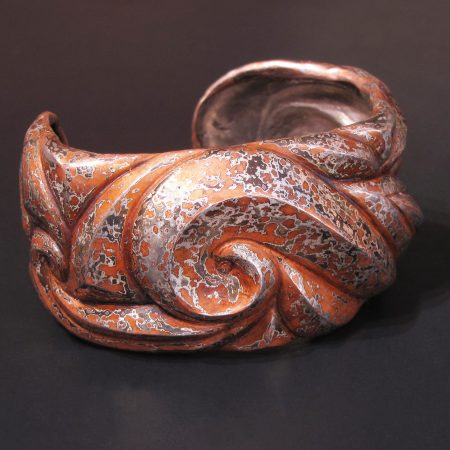 Enraptured II - cuff of Eastern repousse patterned mokume gane