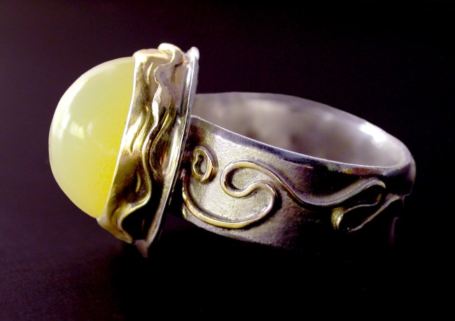 Twist of Lemon, wire granulation ring with lemon opal