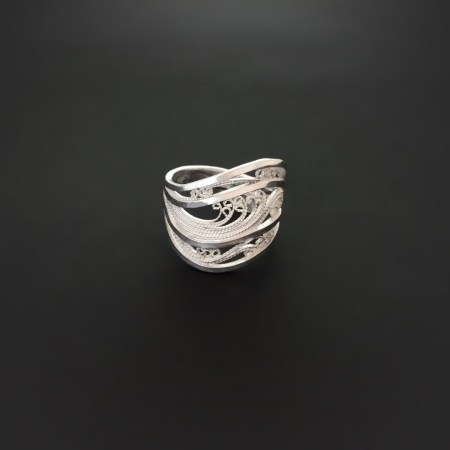 """From the series, """"Icy White & Crystalline"""" Rings, Russian filigree band"""