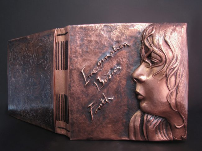 Imagination Bodies Forth, Eastern repousse copper bound artist book with hand lettering