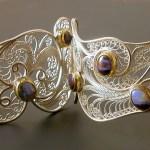 """""""Stardust on My Sleeve,"""" Russian filigree hinged bracelet"""