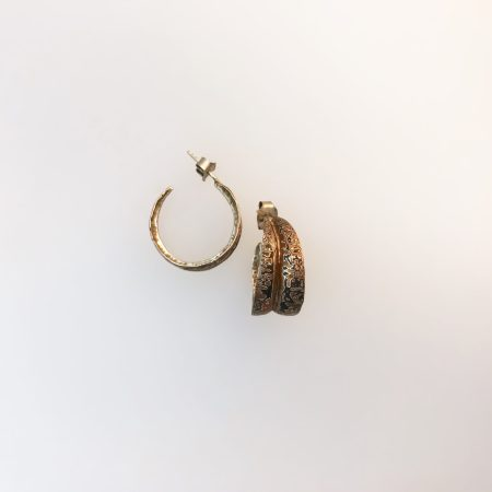 From the series Luna's Inner Glow, fold formed patterned mokume gane hoop earrings