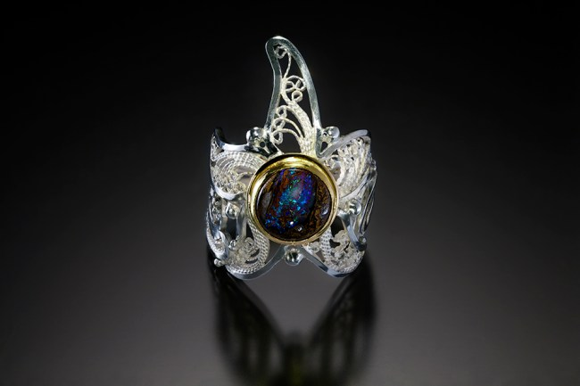 Sea Star II, Russian Filigree ring by Victoria Lansford; photo by Pat Vasquez-Cunningham