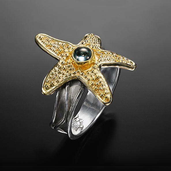 Starfish XII, granulation ring by Victoria Lansford; photo by Pat Vasquez-Cunningham