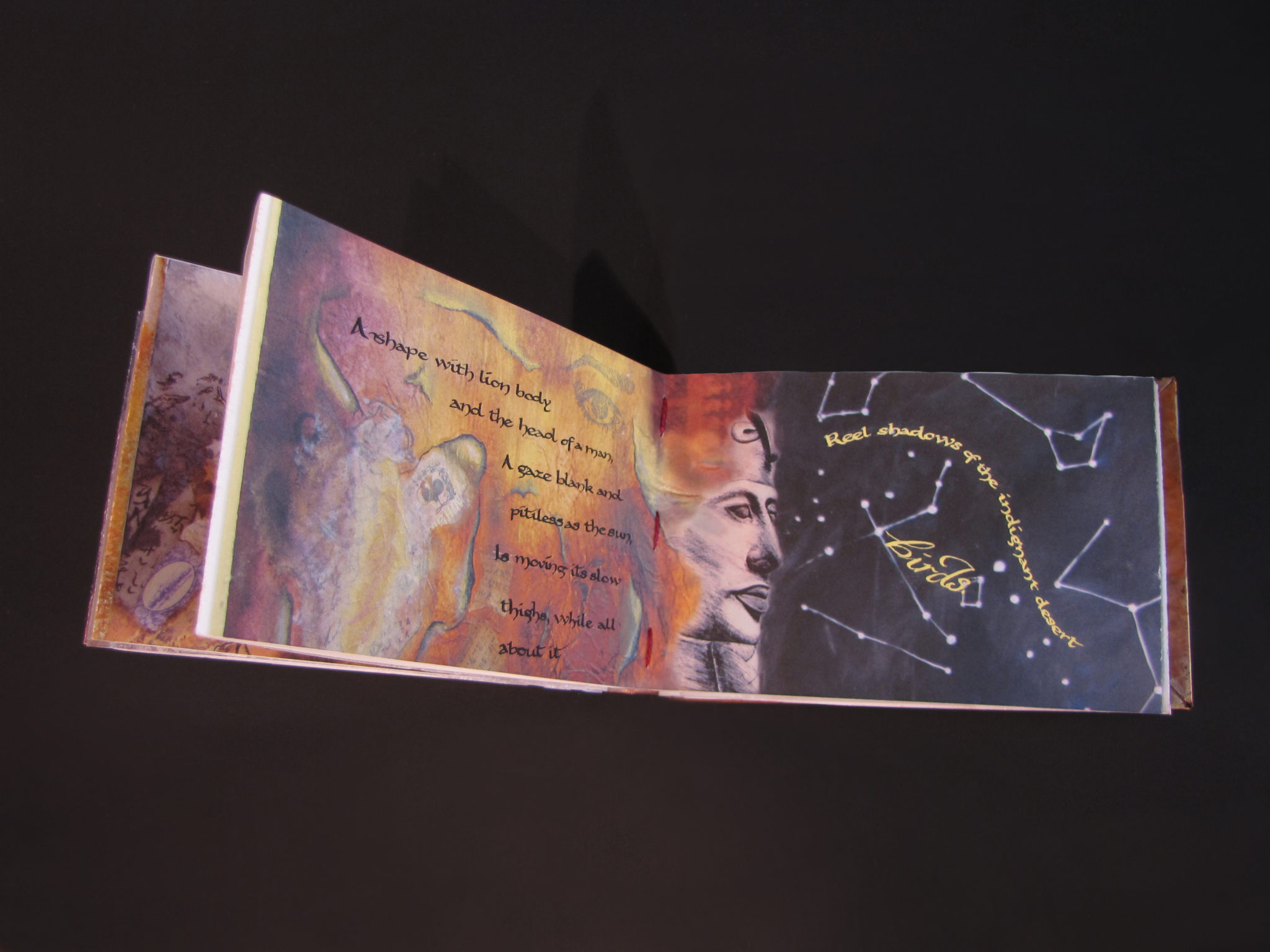 """The Falcon, repousse cover, artwork, and calligraphy by Victoria Lansford; Text """"The Second Coming"""" by William Butler Yeats (page spread 6)"""