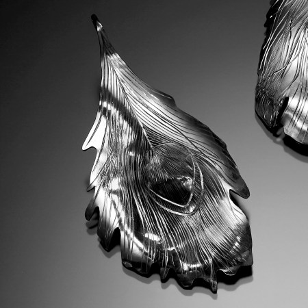 Peacock Splendor II, hand engraved earrings
