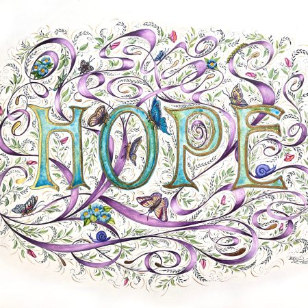 Illumination of the word Hope by Victoria Lansford, 24k gold and watercolor on paper