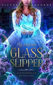 """the cover for """"the murano glass slipper"""". A woman holds a glass shoe. A view of Venice can been seen behind her. The title is surrounded by glass tubes and blue roses."""