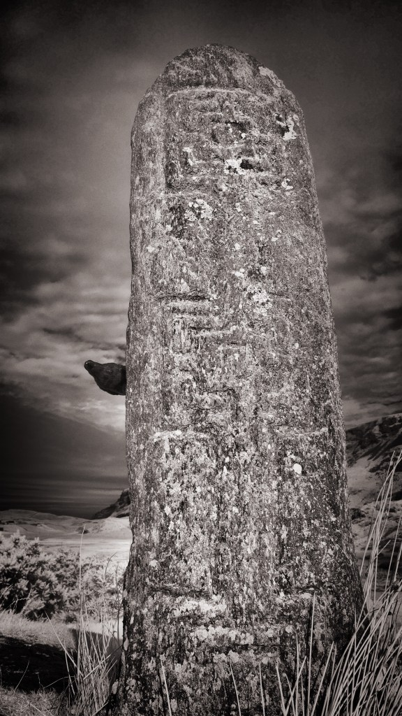 Infrared of Nevermore with a standing stone in Glencolmcille.