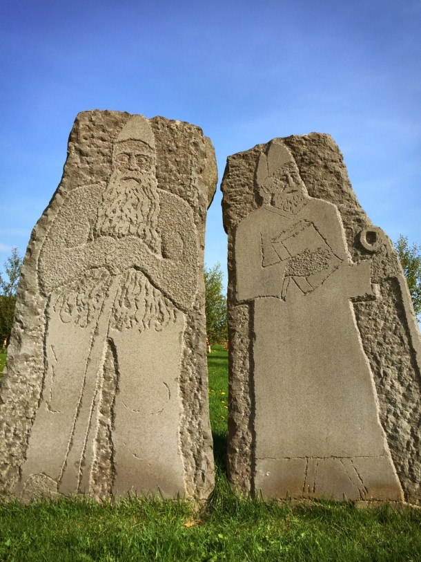 The viking and bishop statues at the historic Skálholt Cathedral. The first church was established here in 1056 AD.