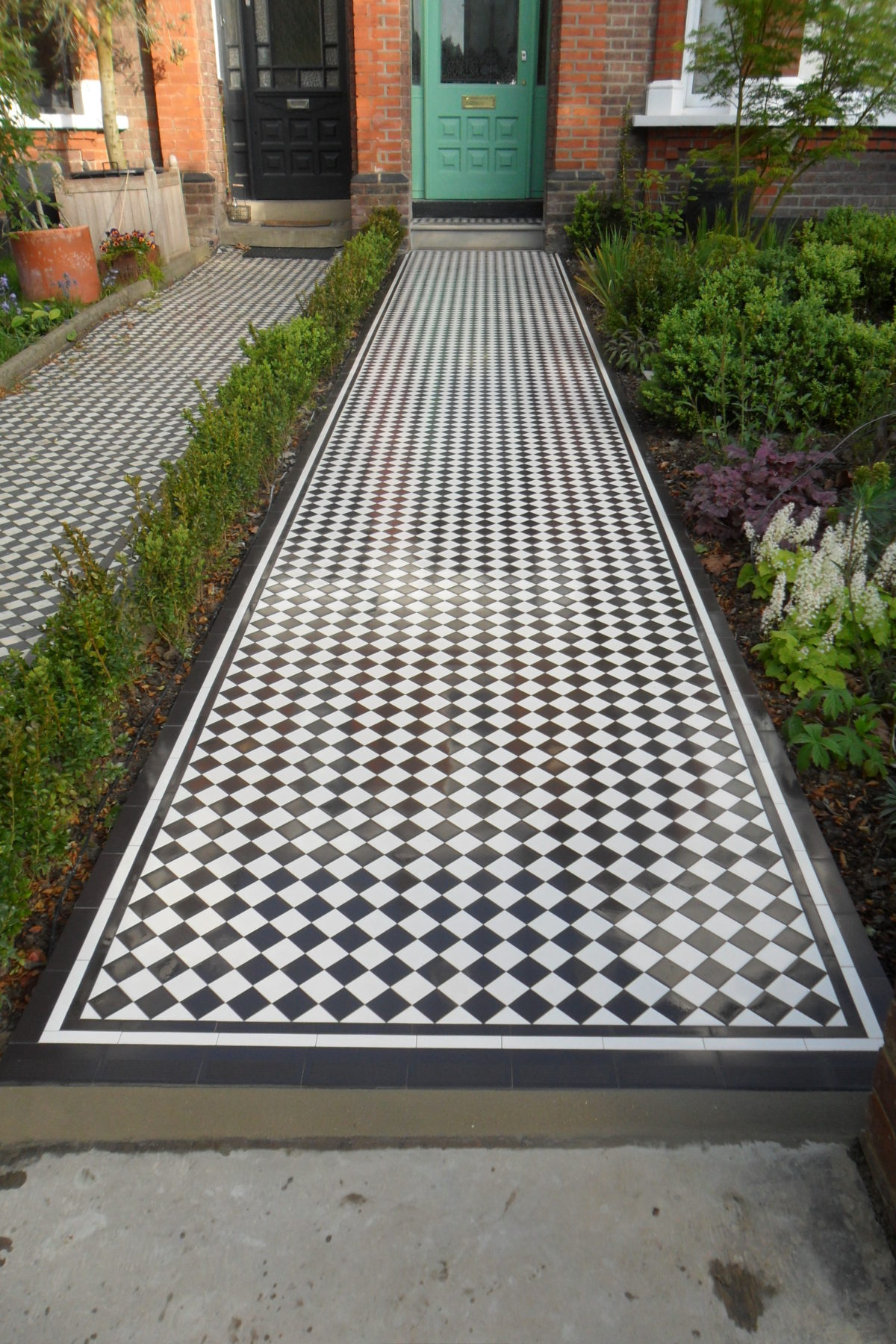 Checkerboard  Black and White Victorian Pathway NW66DA Chevening Rd London  Specialist tiling