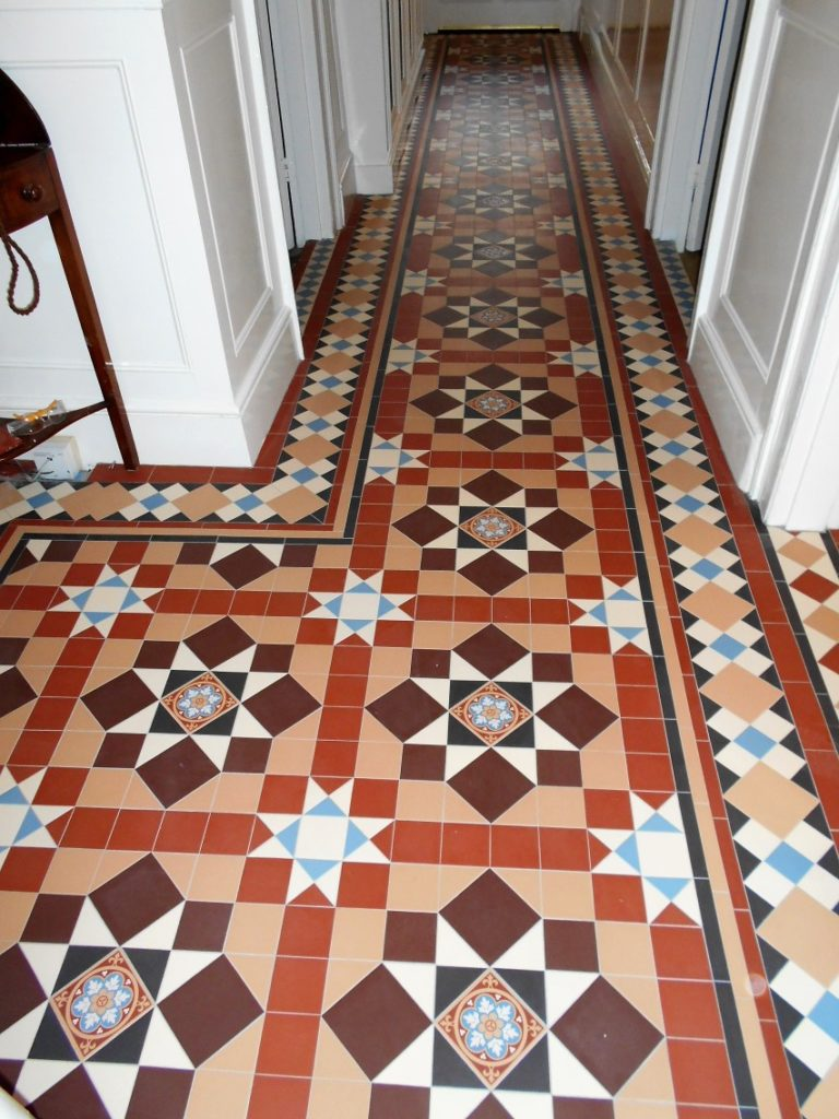 geometric tiled hallway in HertfordshireChatworth and