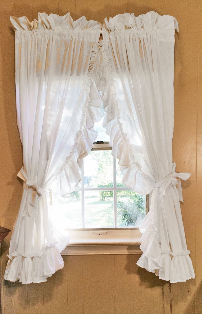 Ruffled Country Curtains White
