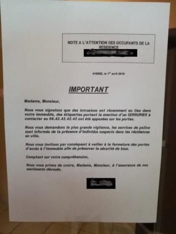Recommandation de sécurité dans une résidence de proximité.