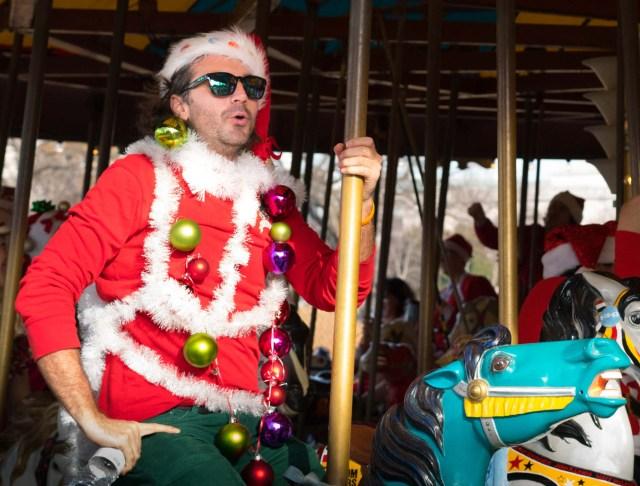 Santas on the carousel