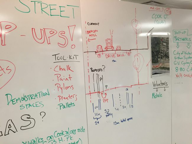 Brainstorming design of the street intervention for Cook St. Pop-Up, November 1