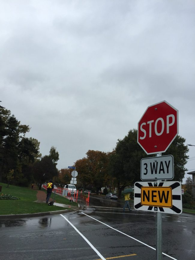 New three-way Stop for cars made it easier for people on foot to cross between the park spaces.