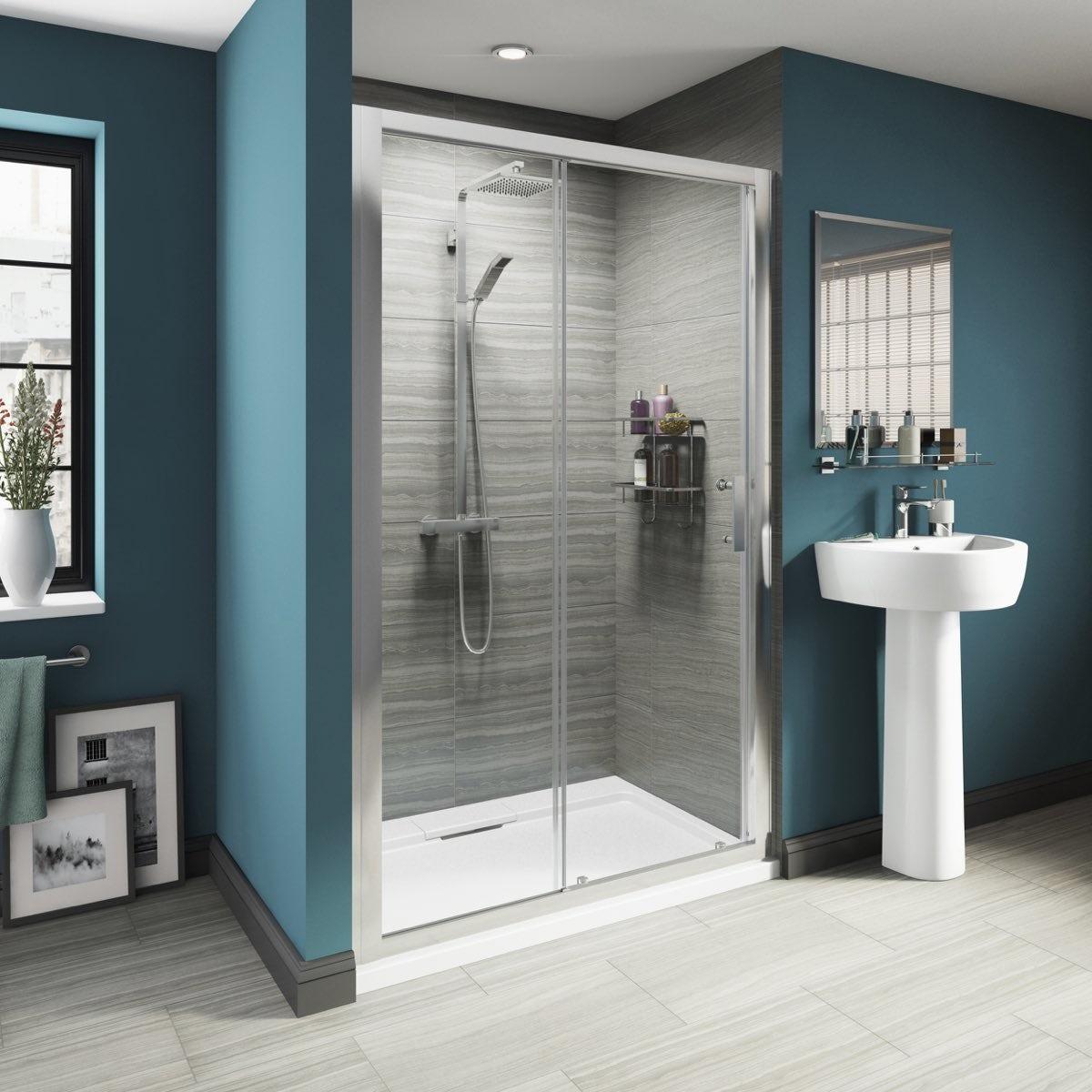 8mm Framed Sliding Shower Door 1200 with Tray  VictoriaPlumcom