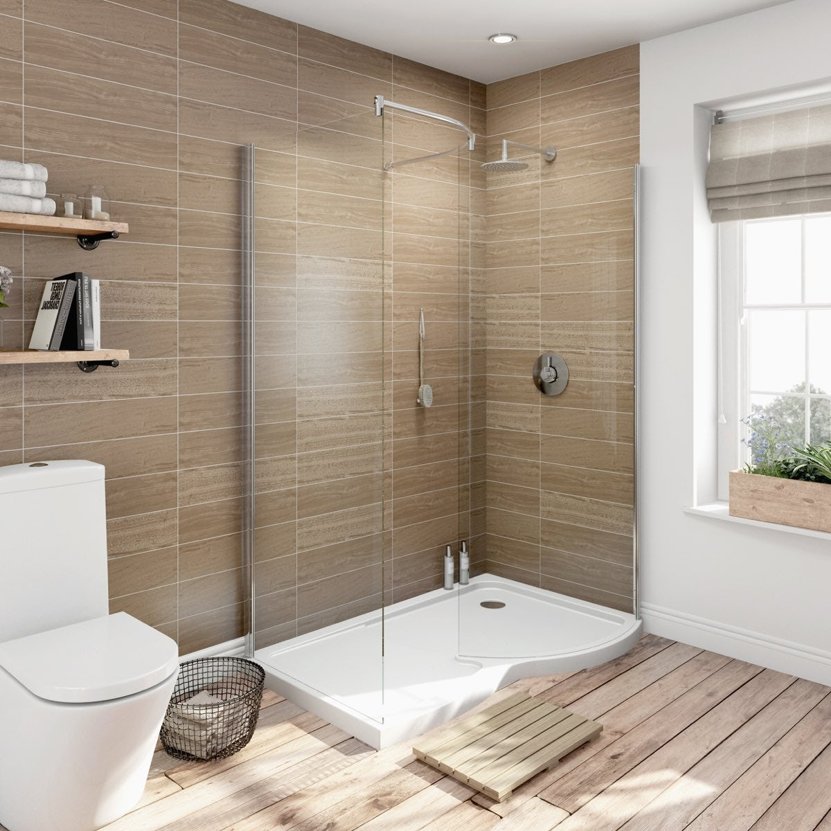 6mm Curved RH Walk In Shower Enclosure With Tray 1400x900  VictoriaPlumcom
