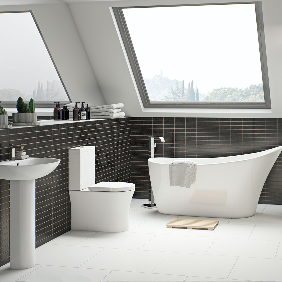 Mode Hardy bathroom suite with freestanding bath and taps  VictoriaPlumcom
