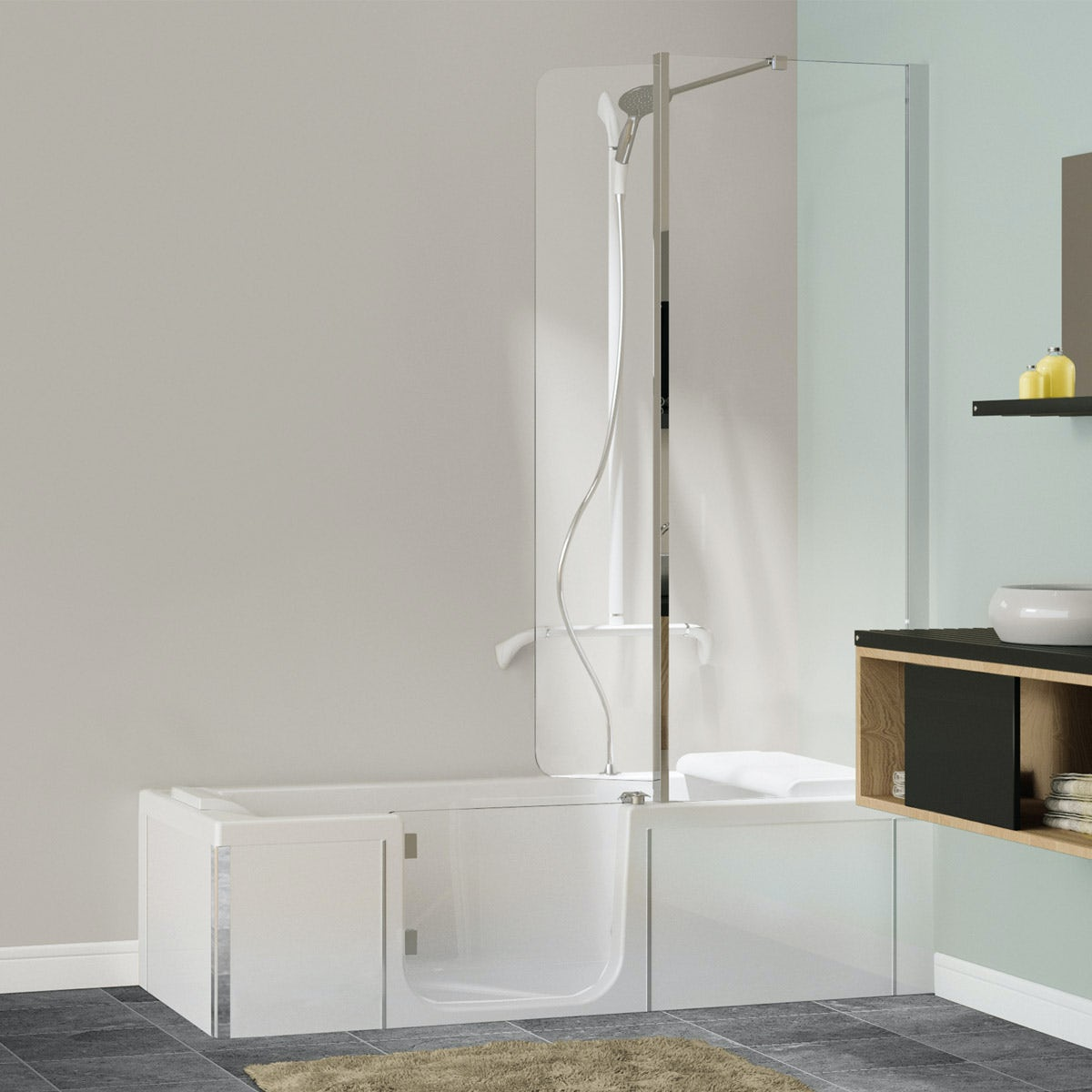 Kineduo Left Handed Shower Bath With Screen And White