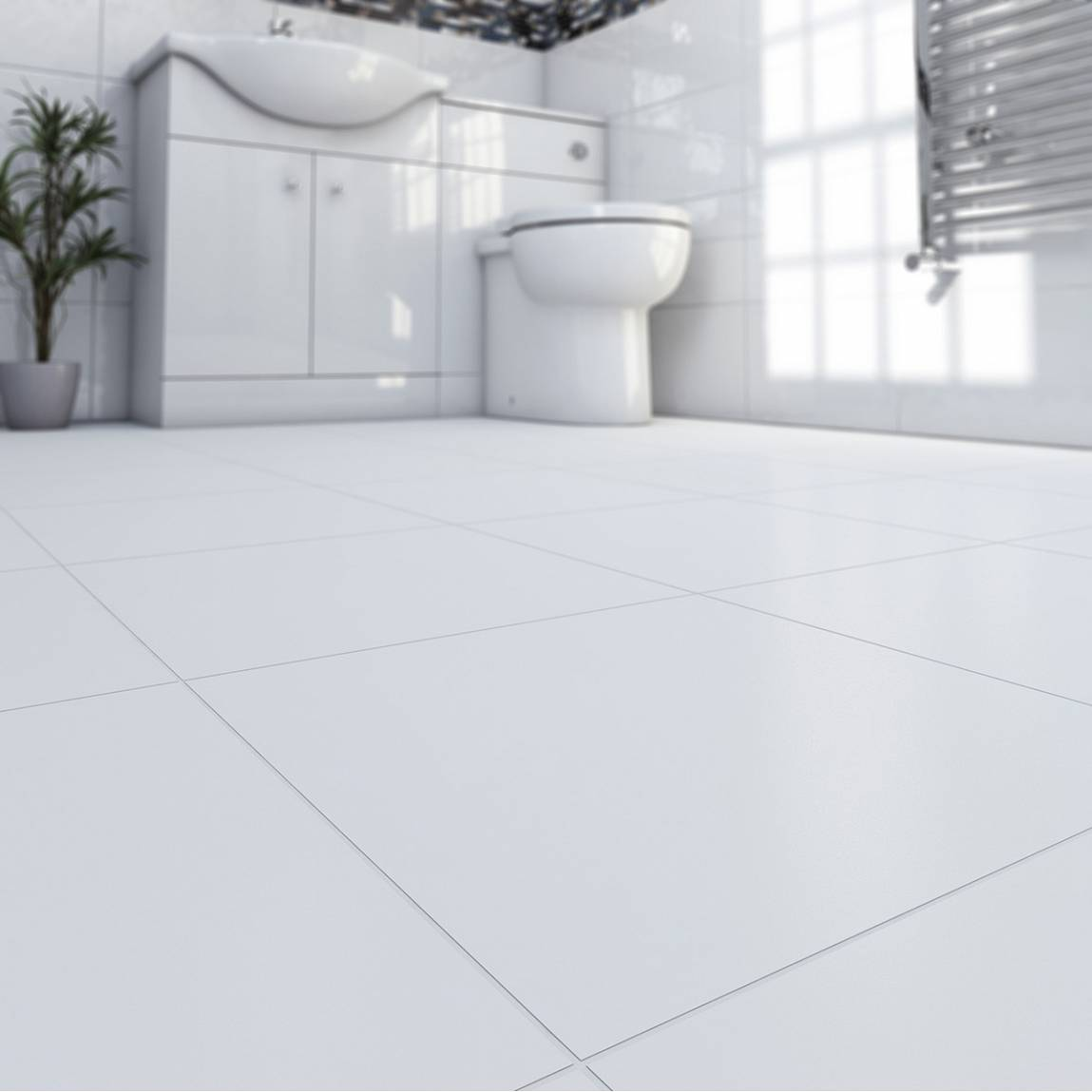 Oria Matte Super White Ceramic Floor Tile 33cm x 33cm