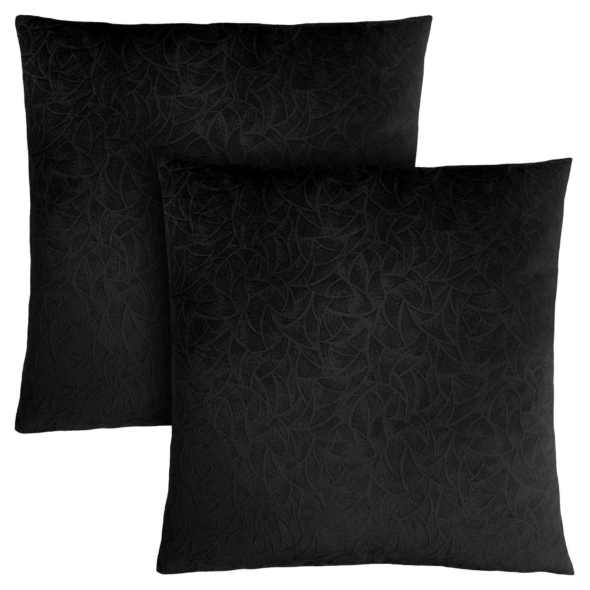 pillow 18 x 18 black floral velvet 2pcs victoria rose decor