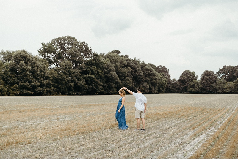 St. Michaels Engagement Session In His Parents' Backyard & Neighbor's Field || Eastern Shore, Maryland || Victoria Selman