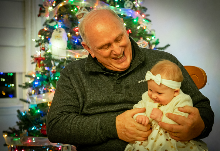Christmas 2019, Cousin Tom and our family's newest member, his grand-daughter
