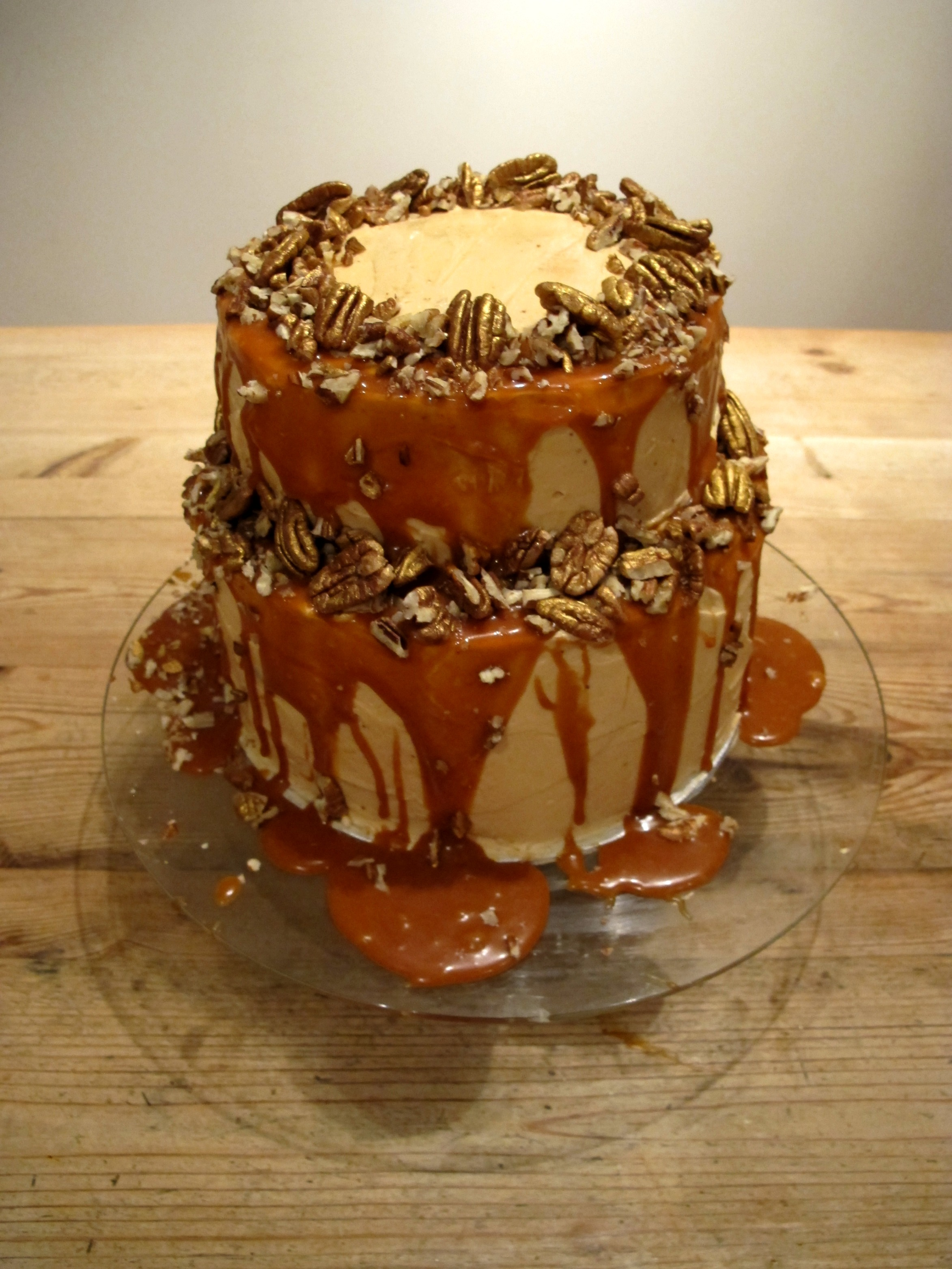 salted caramel chocolate cake salted caramel golden pecan and chocolate celebration cake 7241