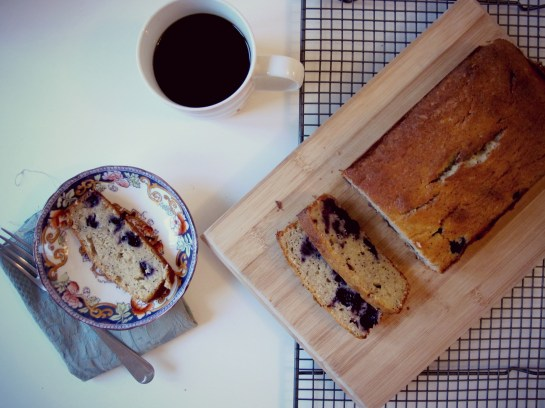 Blueberry Lemon Poppy Seed Banana Loaf and Black Coffee