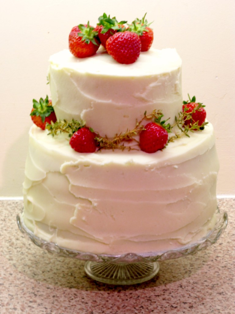 Strawberries and Cream with a touch of Thyme Celebration Cake