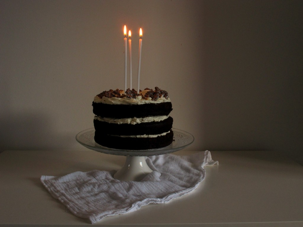 Maple and Candied Walnut Chocolate Celebration Cake// VSPP