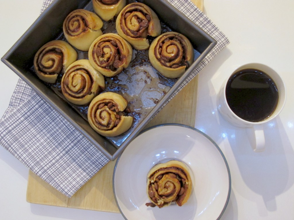 Quick Brown Butter Cinnamon Rolls with Pecans and Chocolate Chips