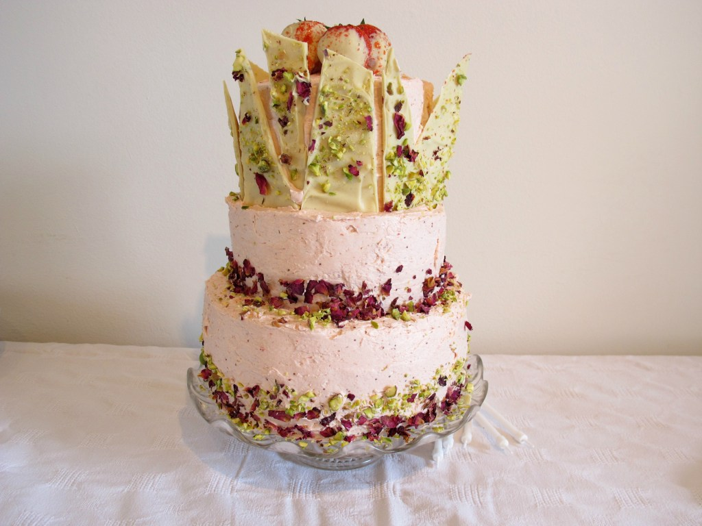 Roasted Strawberry, Pistachio and Rose Celebration Cake
