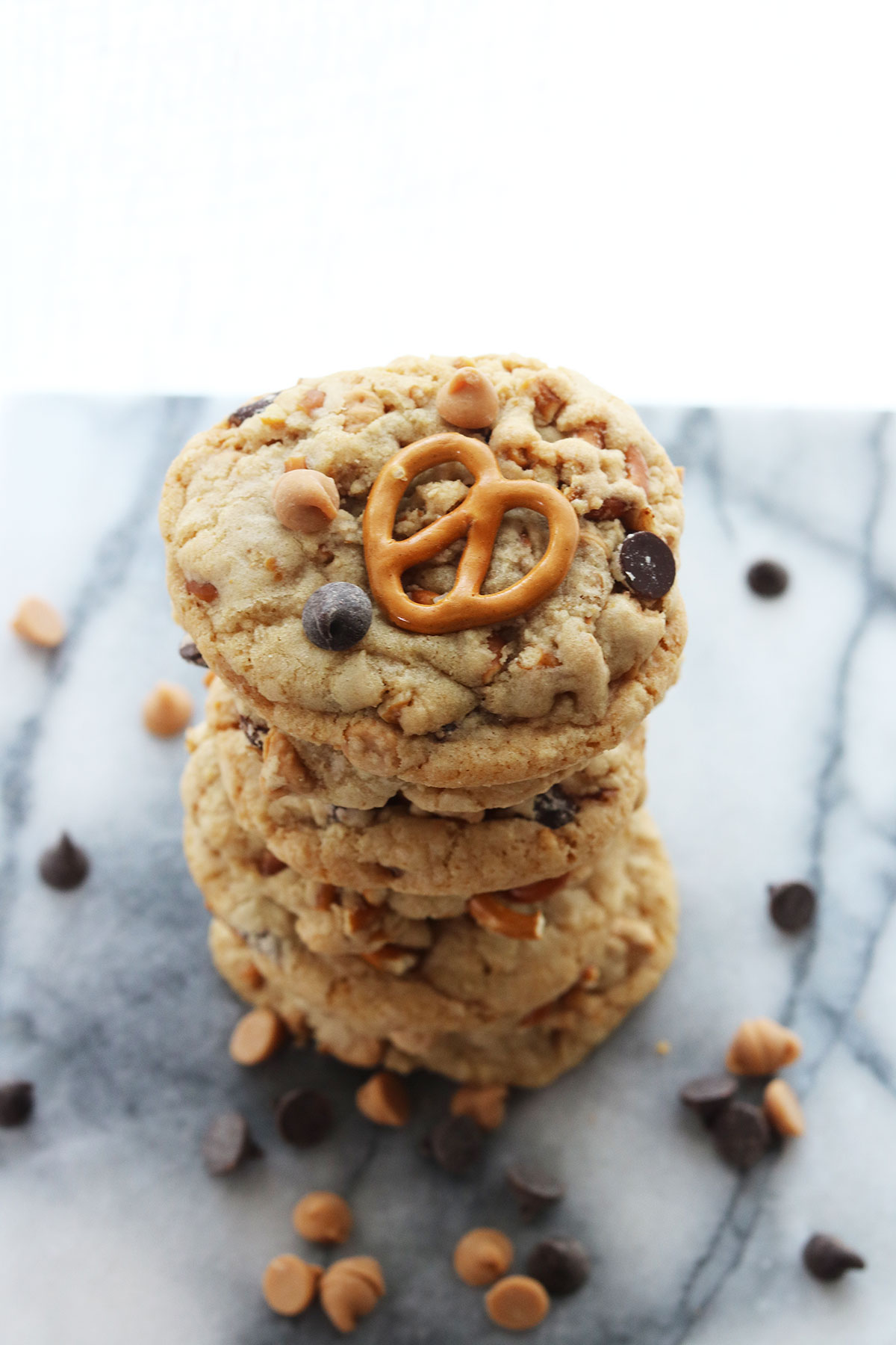 Pretzel Peanut Butter Chocolate Chip Cookies