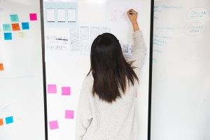 woman showing sticky notes and plan for digital transformation