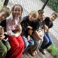 Konijntjes aaien: Thomas, Leonie, Levi, Pim en Job