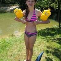 Jadie kan toch nog niet zo goed zwemmen