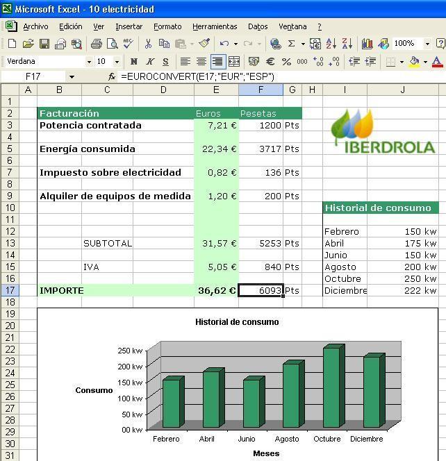 Hoja de calculo microsoft excel for Oficina virtual del cliente iberdrola