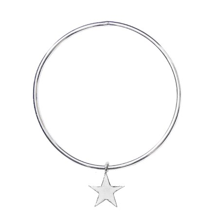 STERLING SILVER STAR CHARM BANGLE