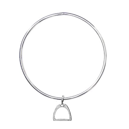 STERLING SILVER STIRRUP CHARM BANGLE