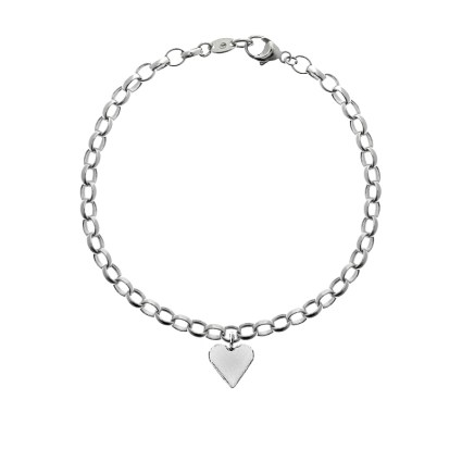STERLING SILVER LOVE HEART CHAIN BRACELET