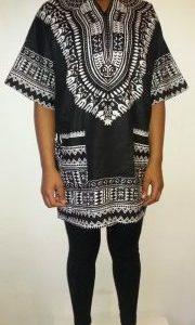 Hot Dashiki shirt Black Size XXL
