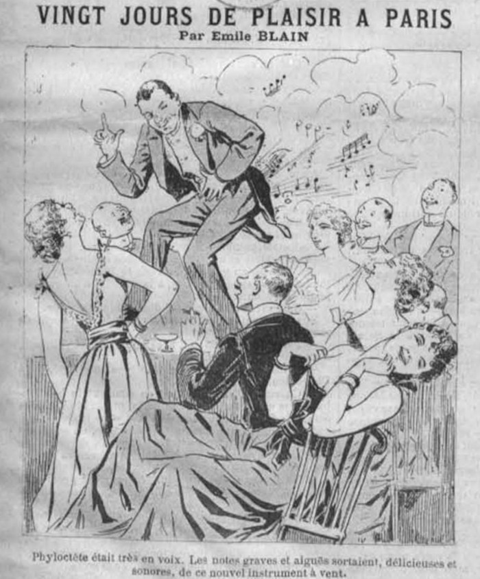 An early 19th century cartoon of a man standing on a table farting visible clouds and musical notes. He is watched by people who are laughing.