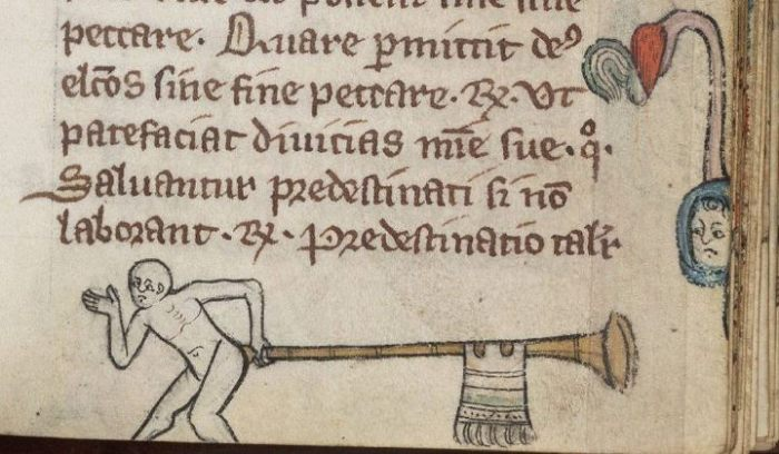 A medieval manuscript cartoon of a person holding a long trumpet to their bottom. A person watches them from the margin of the page.