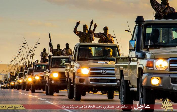 ISIS convoy of shiny, new Toyota trucks in Libya